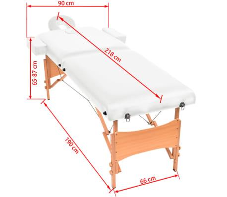 vidaXL Table de massage pliable à 2 zones 10 cm d'épaisseur Blanc[11/11]