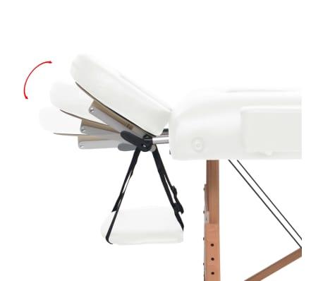 vidaXL Massageliege 2 Zonen Tragbar 10 cm Polsterung Weiß[5/11]