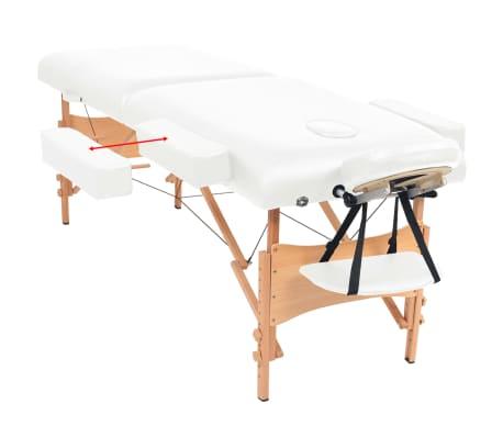 vidaXL Massageliege 2 Zonen Tragbar 10 cm Polsterung Weiß[6/11]