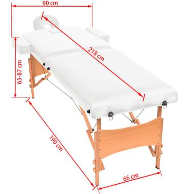 vidaXL Massageliege 2 Zonen Tragbar 10 cm Polsterung Weiß[11/11]