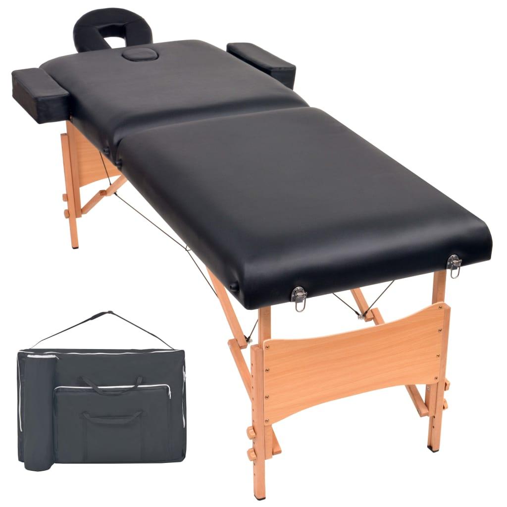 vidaXL Masă de masaj pliabilă cu 2 zone, 10 cm grosime, Negru vidaxl.ro