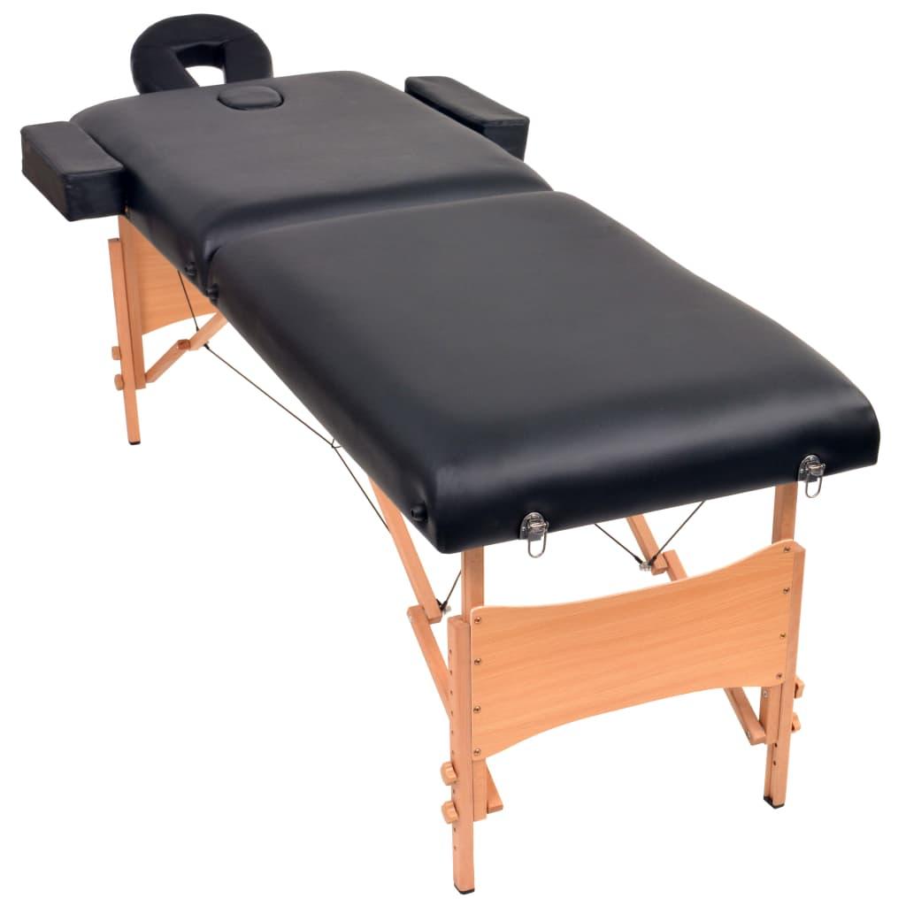 vidaXL Massagetafel inklapbaar 2 zones 10 cm dik zwart