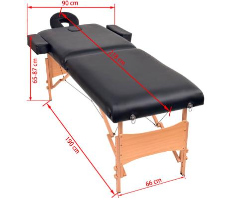 vidaXL Massageliege 2 Zonen Tragbar 10 cm Polsterung Schwarz[11/11]