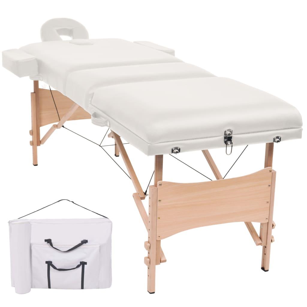 vidaXL Masă de masaj pliabilă cu 3 zone, 10 cm grosime, Alb vidaxl.ro