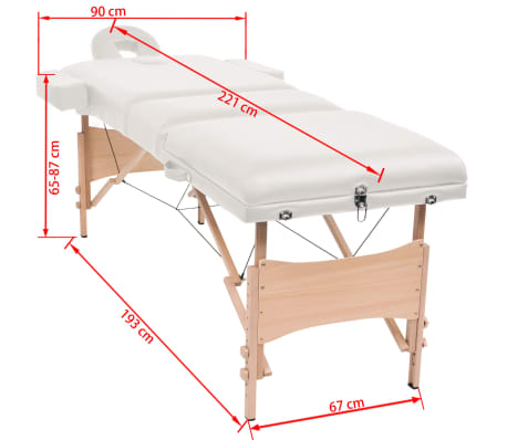 vidaXL Table de massage pliable à 3 zones 10 cm d'épaisseur Blanc[12/12]