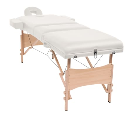 vidaXL Table de massage pliable à 3 zones 10 cm d'épaisseur Blanc[3/12]