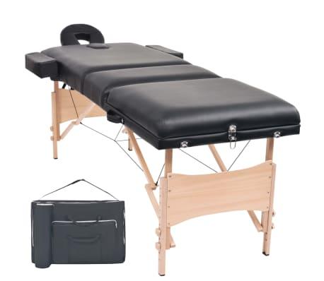vidaXL 3 zonų sulankstomas masažinis stalas, 10 cm storio, juodas
