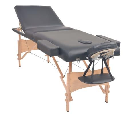 vidaXL Massageliege 3 Zonen Tragbar 10 cm Polsterung Schwarz[2/12]