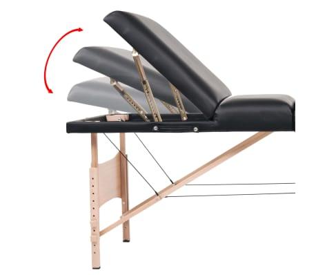 vidaXL Table de massage pliable à 3 zones 10 cm d'épaisseur Noir[11/12]