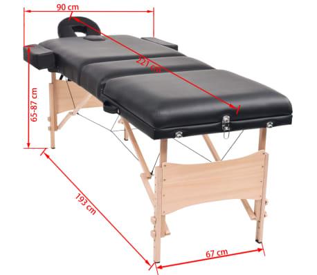vidaXL Table de massage pliable à 3 zones 10 cm d'épaisseur Noir[12/12]