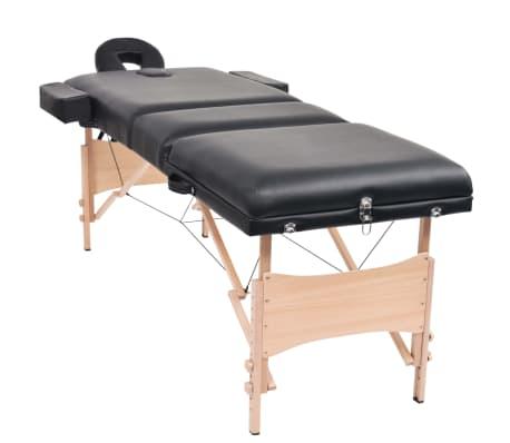 vidaXL Table de massage pliable à 3 zones 10 cm d'épaisseur Noir[3/12]