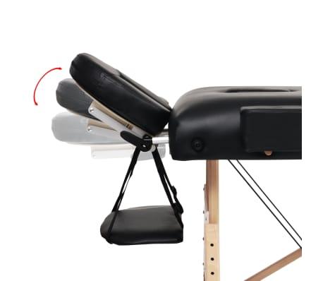 vidaXL Table de massage pliable à 3 zones 10 cm d'épaisseur Noir[9/12]