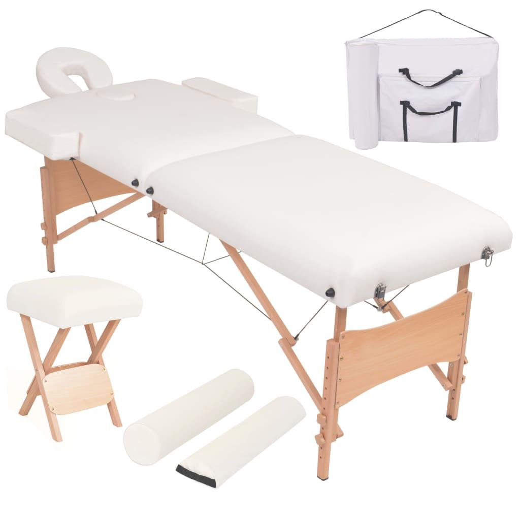 vidaXL Set taburet și masă masaj pliabilă 2 zone, grosime 10 cm, alb vidaxl.ro