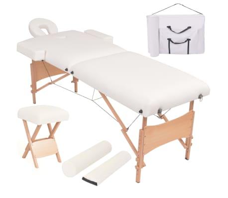 vidaXL Table de massage pliable et tabouret 10 cm d'épaisseur Blanc[1/12]