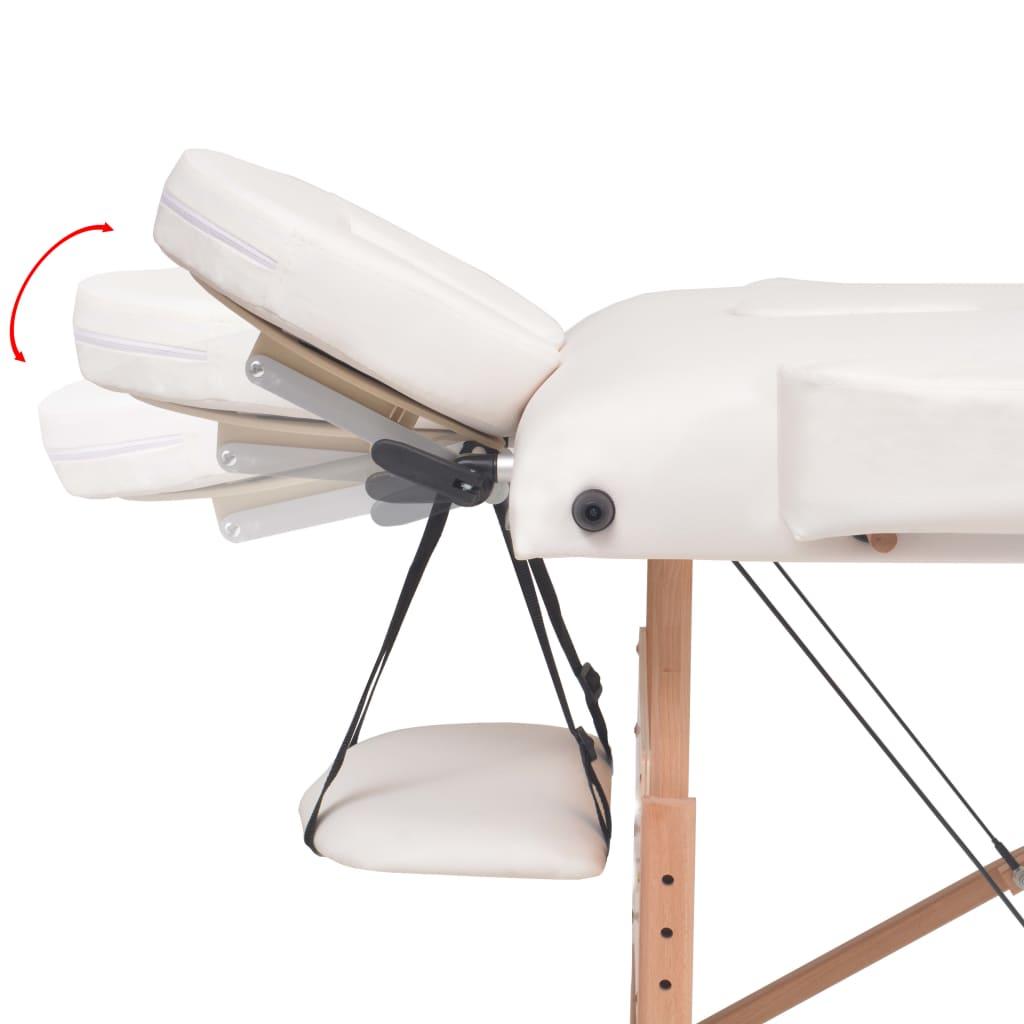 2-tsooniline kokkupandav massaažilaud ja -tool 10 cm, valge