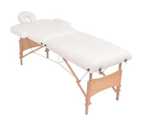 vidaXL Table de massage pliable et tabouret 10 cm d'épaisseur Blanc[2/12]