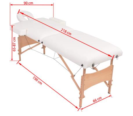 vidaXL Table de massage pliable et tabouret 10 cm d'épaisseur Blanc[12/12]