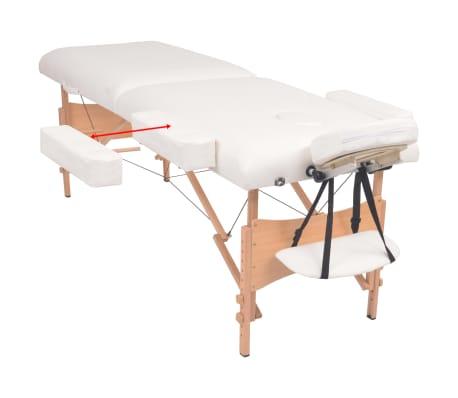 vidaXL Table de massage pliable et tabouret 10 cm d'épaisseur Blanc[3/12]
