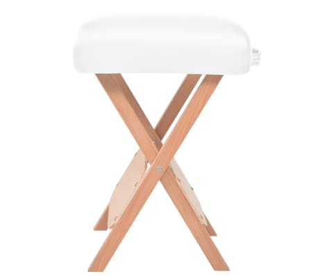 vidaXL Table de massage pliable et tabouret 10 cm d'épaisseur Blanc[4/12]