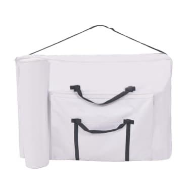 vidaXL Sulanks. masaž. stalo ir kėdės komp., 2 zonų, 10cm stor., balt.[8/12]