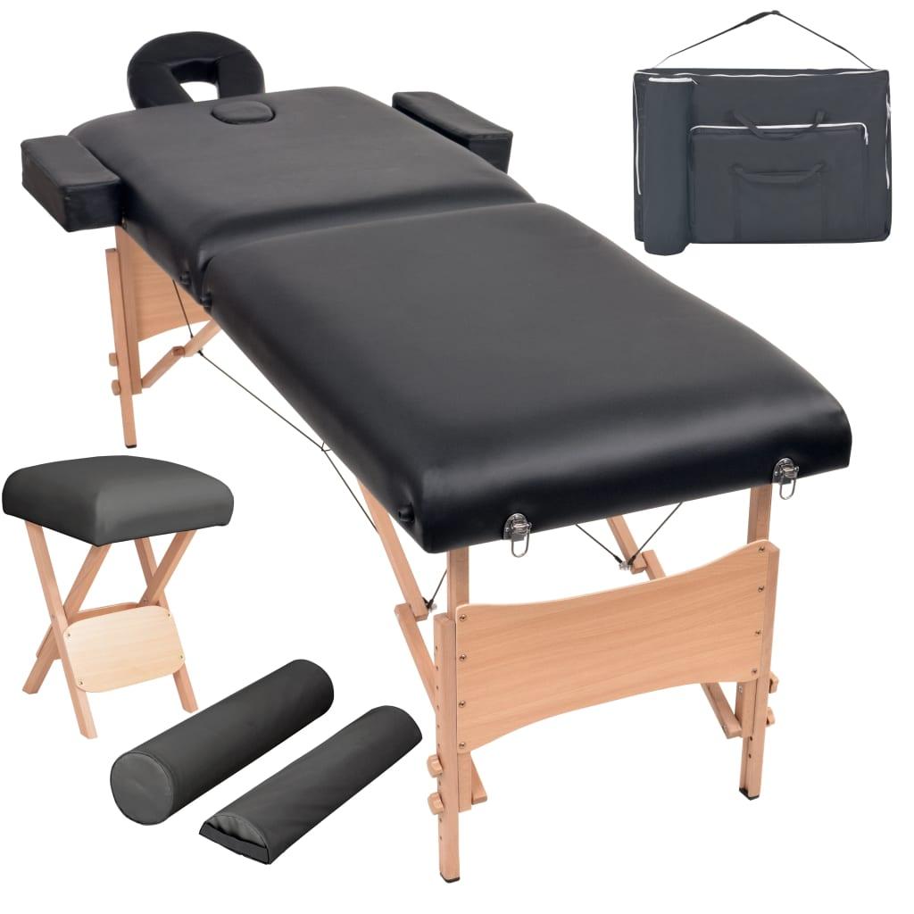 vidaXL Set taburet și masă masaj pliabilă 2 zone, 10 cm grosime, negru poza vidaxl.ro