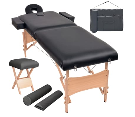 vidaXL Massageliege 2 Zonen Tragbar mit Hocker 10 cm Polster Schwarz[1/12]