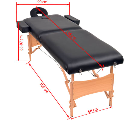 vidaXL Massageliege 2 Zonen Tragbar mit Hocker 10 cm Polster Schwarz[12/12]