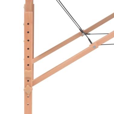 vidaXL Massageliege 2 Zonen Tragbar mit Hocker 10 cm Polster Schwarz[11/12]