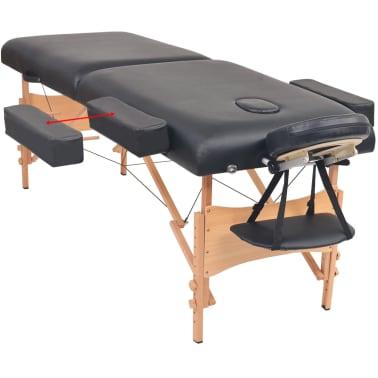 vidaXL Massageliege 2 Zonen Tragbar mit Hocker 10 cm Polster Schwarz[3/12]