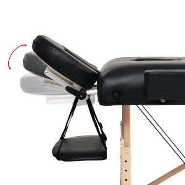 vidaXL Massageliege 2 Zonen Tragbar mit Hocker 10 cm Polster Schwarz[7/12]