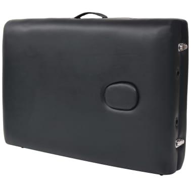 vidaXL Massageliege 2 Zonen Tragbar mit Hocker 10 cm Polster Schwarz[8/12]