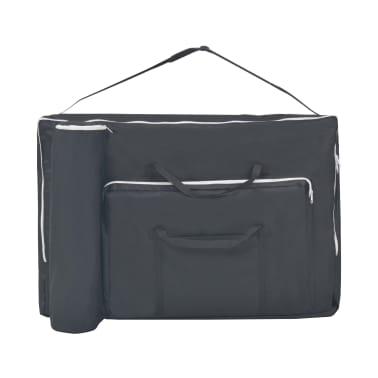 vidaXL Massageliege 2 Zonen Tragbar mit Hocker 10 cm Polster Schwarz[9/12]