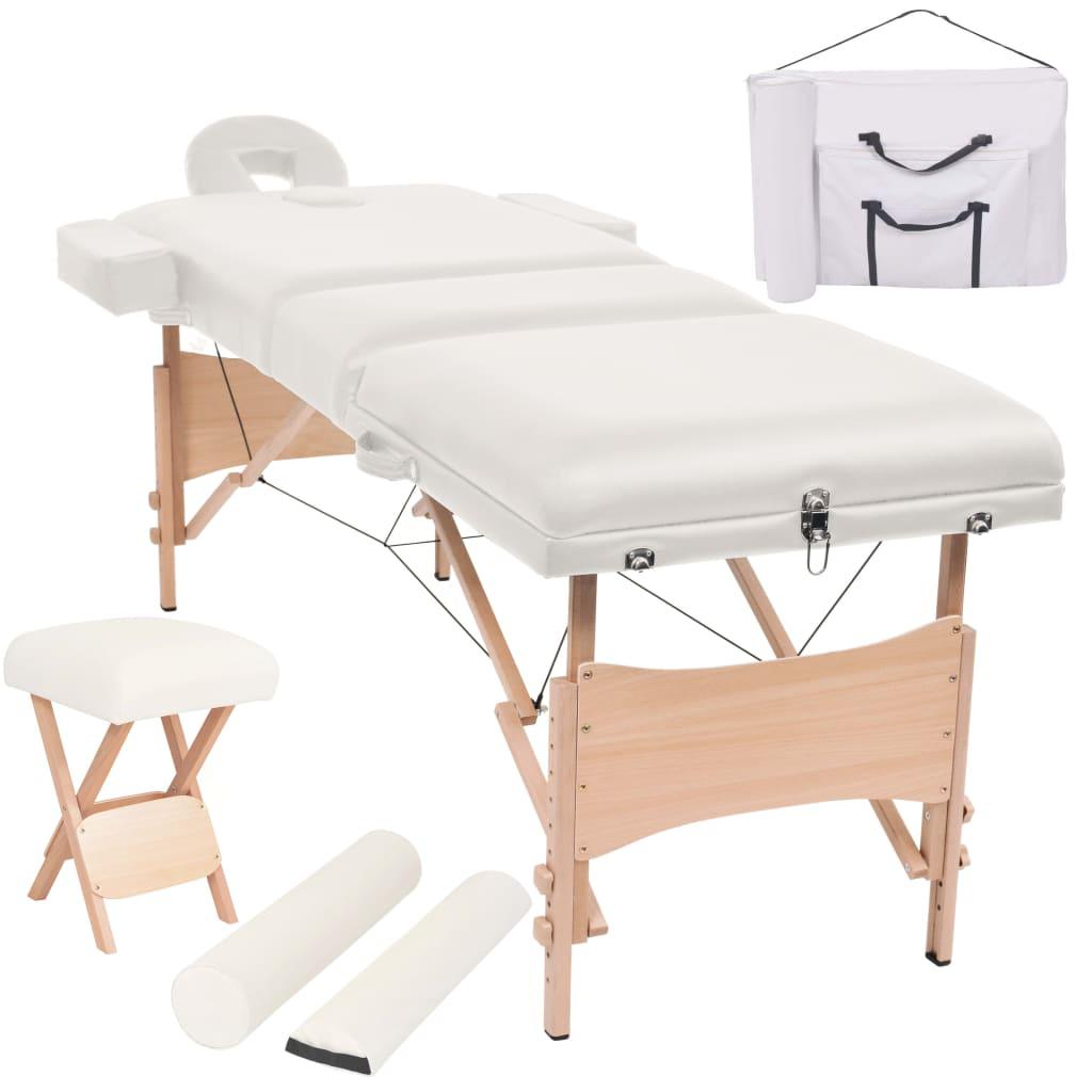vidaXL Set taburet și masă masaj pliabilă, 3 zone, grosime 10 cm, alb vidaxl.ro