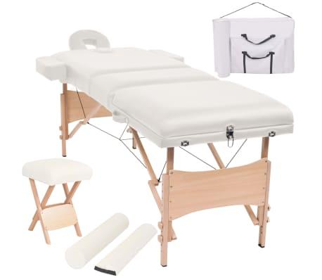 vidaXL Massageliege 3 Zonen Tragbar mit Hocker 10 cm Polsterung Weiß[1/14]