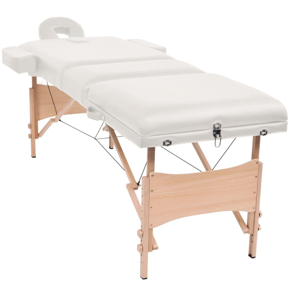 vidaXL 3zónový skládací masážní stůl a stolička tloušťka 10 cm bílé