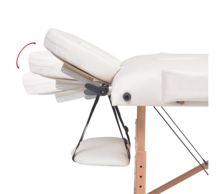 vidaXL Massageliege 3 Zonen Tragbar mit Hocker 10 cm Polsterung Weiß[11/14]