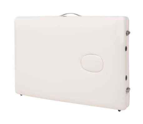 vidaXL Massageliege 3 Zonen Tragbar mit Hocker 10 cm Polsterung Weiß[12/14]
