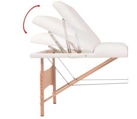 vidaXL Table de massage pliable et tabouret 10 cm d'épaisseur Blanc[13/14]