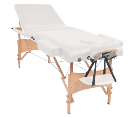 vidaXL Massageliege 3 Zonen Tragbar mit Hocker 10 cm Polsterung Weiß[3/14]