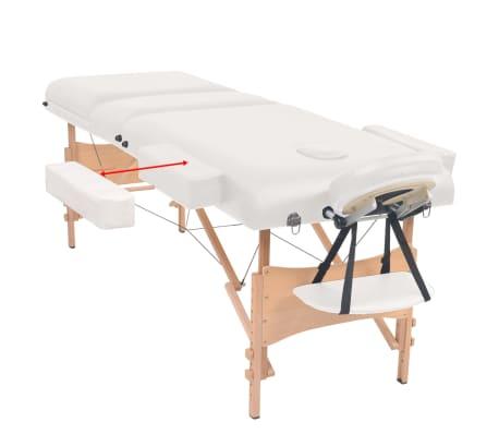vidaXL Massageliege 3 Zonen Tragbar mit Hocker 10 cm Polsterung Weiß[4/14]