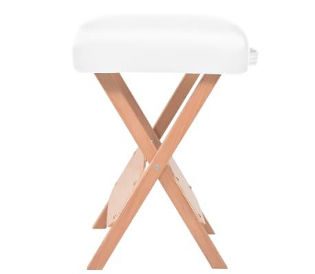 vidaXL Table de massage pliable et tabouret 10 cm d'épaisseur Blanc[5/14]