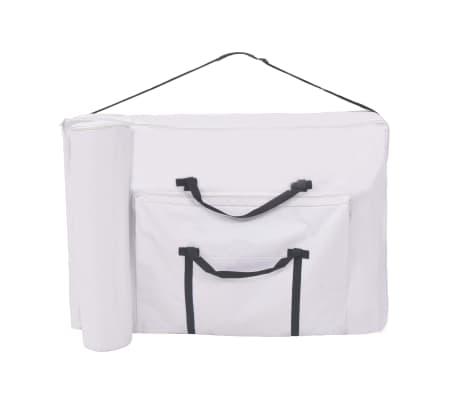 vidaXL Massageliege 3 Zonen Tragbar mit Hocker 10 cm Polsterung Weiß[7/14]