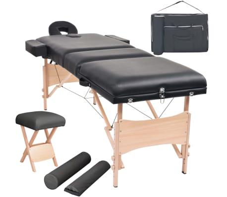 vidaXL Table de massage pliable et tabouret 10 cm d'épaisseur Noir[1/14]