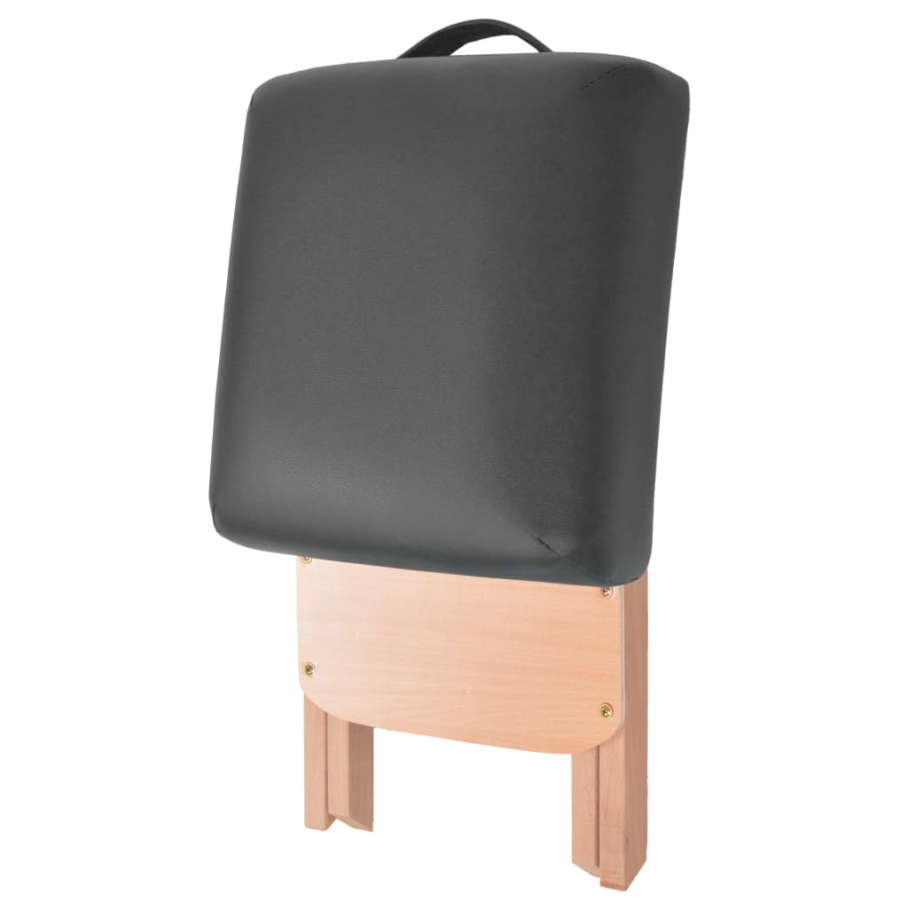 3-tsooniline kokkupandav massaažilaud ja -tool 10 cm, must