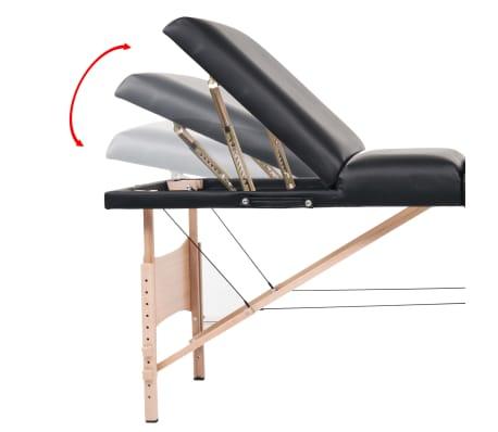 vidaXL Table de massage pliable et tabouret 10 cm d'épaisseur Noir[13/14]