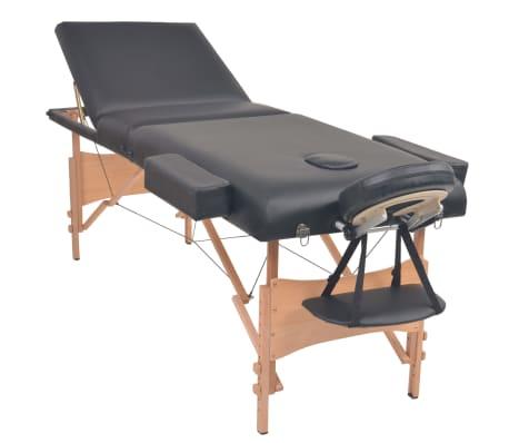 vidaXL Table de massage pliable et tabouret 10 cm d'épaisseur Noir[3/14]