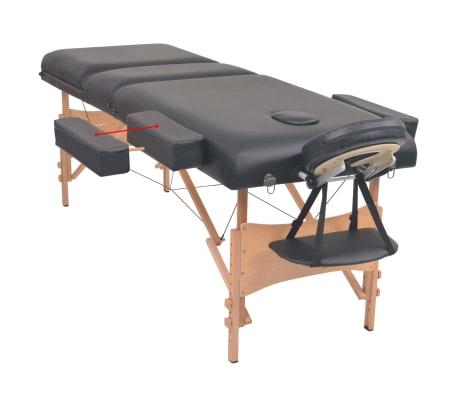 vidaXL Table de massage pliable et tabouret 10 cm d'épaisseur Noir[4/14]