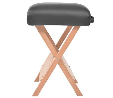 vidaXL Table de massage pliable et tabouret 10 cm d'épaisseur Noir[5/14]