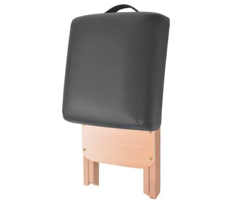 vidaXL Table de massage pliable et tabouret 10 cm d'épaisseur Noir[6/14]