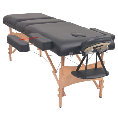 vidaXL Table de massage pliable et tabouret 10 cm d